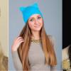 Женская шапка «Кошка» с ушками ( 30 фото)