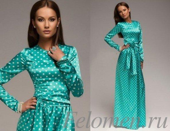 голубое платье длинное