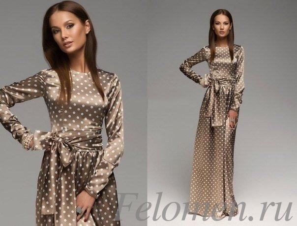 коричневое длинное платье горох