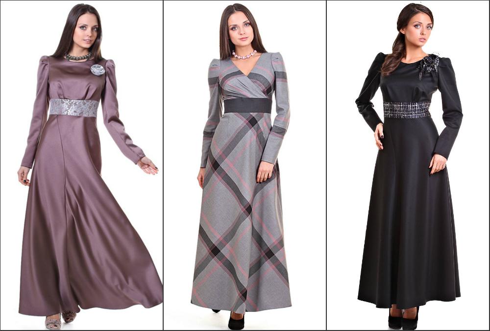 Платье в пол с рукавом буф