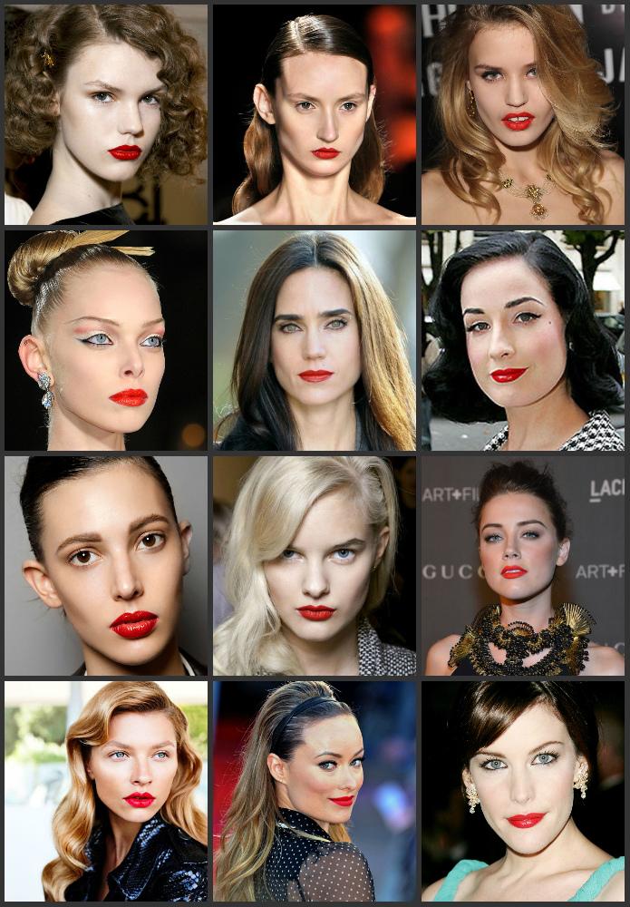 макияж с красной помадой фото образов