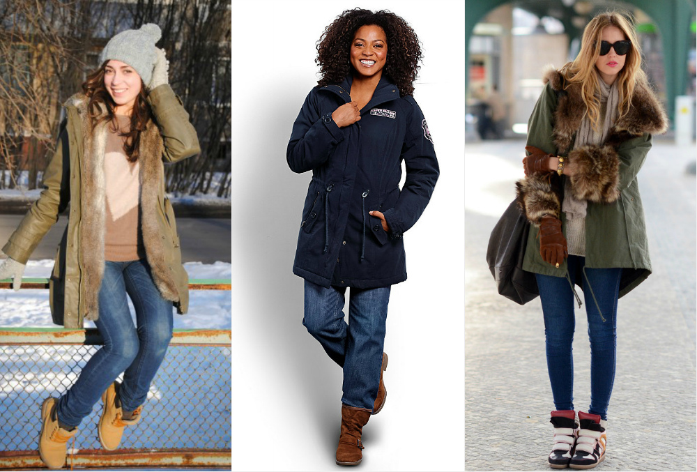 парка с джинсами зимой