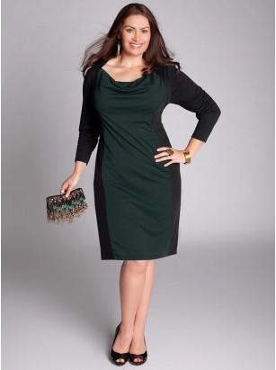 зеленое трикотажное платье для полных
