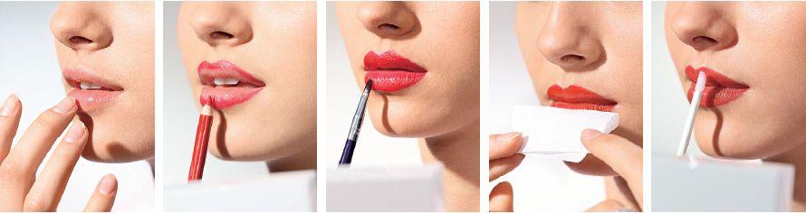 макияж с красной помадой фото техники нанесения