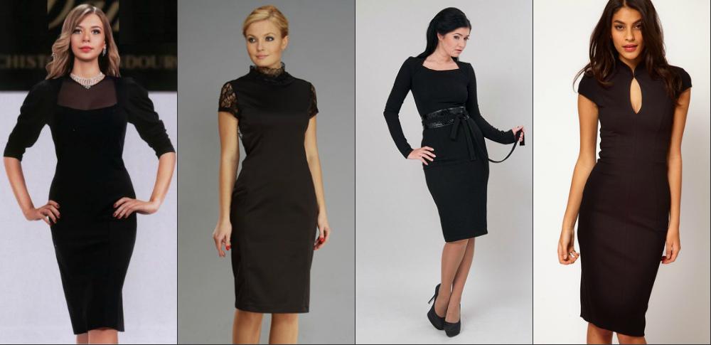 Черное платье для полных модного образа