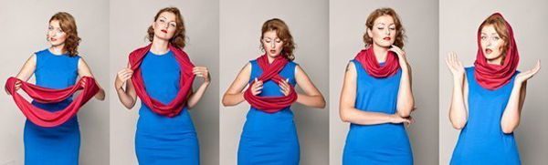 фото-инструкция- как одевать снуд на голову правильно