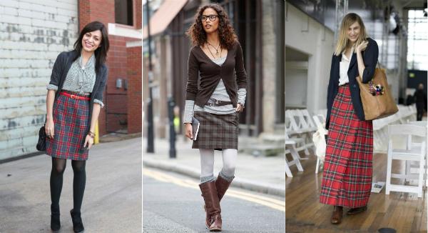 городской образ с юбкой шотландкой