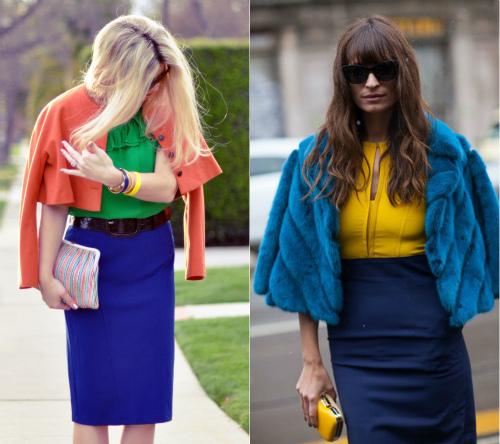 как правильно комбинировать синюю юбку с верхней одеждой
