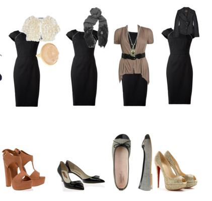 комбинирование одежды с моделью черного платья