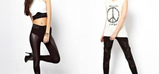 Модные легинсы с кожаными вставками