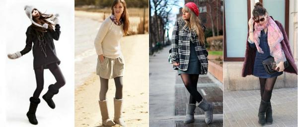 сочетание овчинных сапог с платьем и юбкой