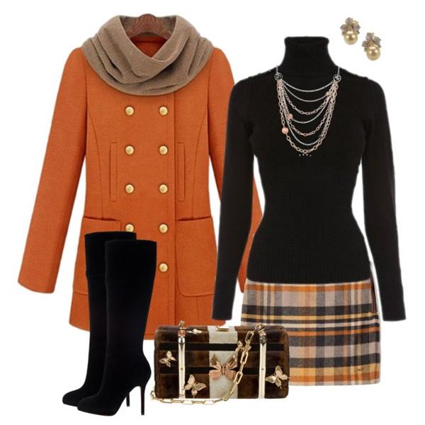 с чем носить юбку в клетку фото в оранжевых и черных тонах