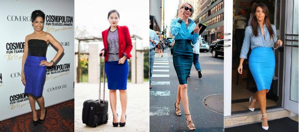 стильные луки с синей юбкой