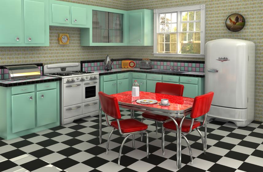 Голубой кухонный гарнитур идеально сочетается с керамической плиткой в виде шахматной доски