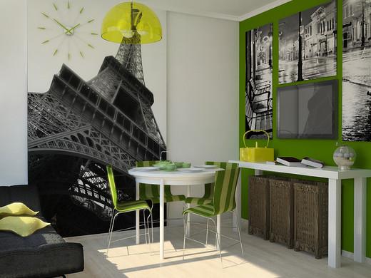 Креативное сочетание черно-белого рисунка с зеленой мебелью