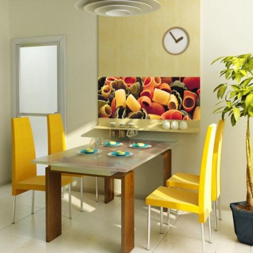 Прекрасное решения для маленькой кухни - фотообои в столовой зоне