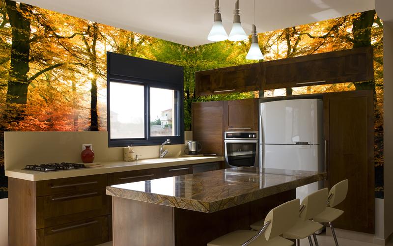 Современная кухня с оригинально украшенными стенами в осенней тематике