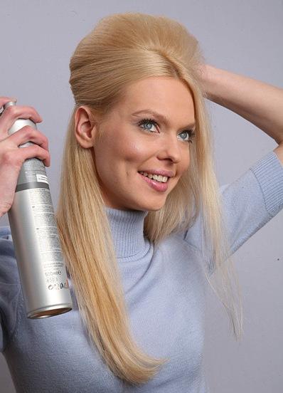 Прическа на средние волосы с начесом своими