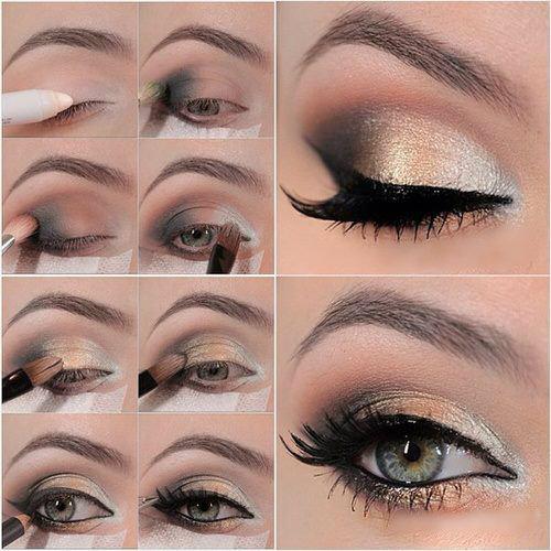 Пошаговый макияж для серых глаз с перламутровыми тенями