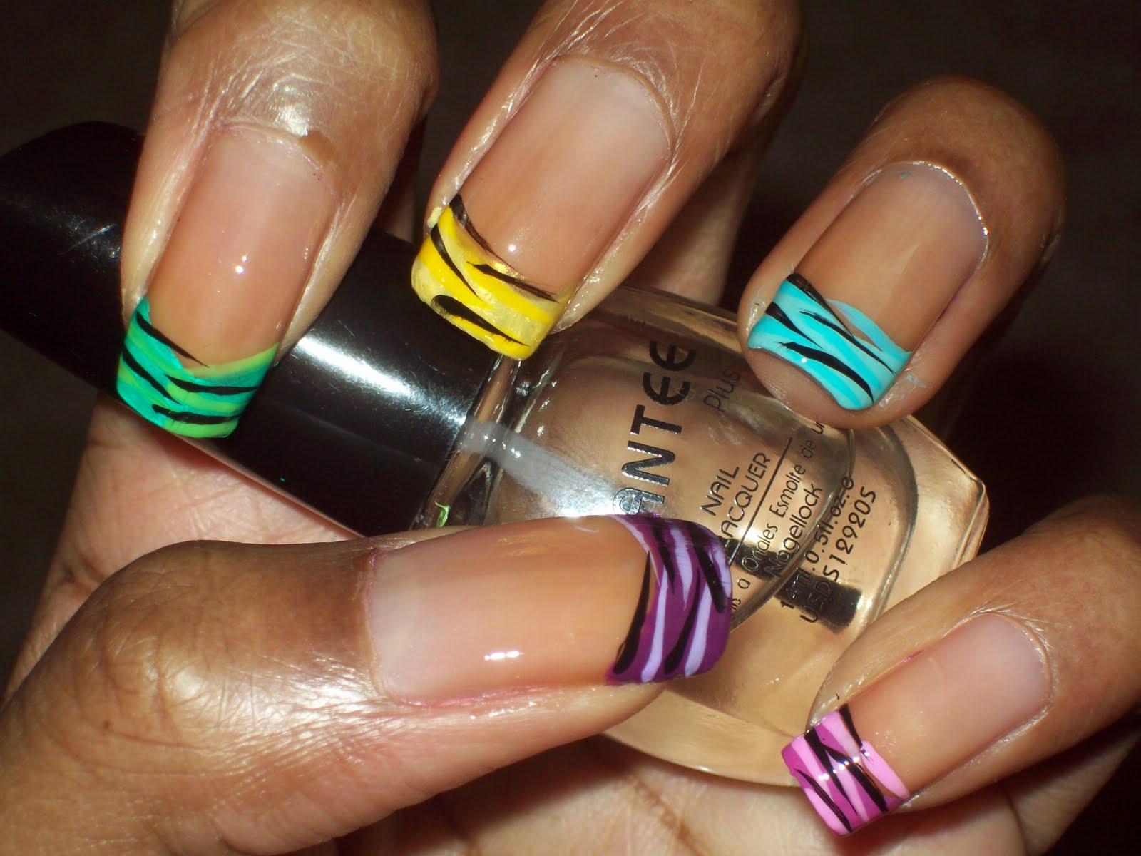 Фото ногти цветной френч с рисунком