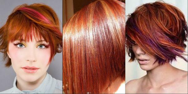 Модное мелирование рыжих волос