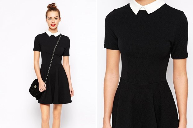 Фасоны чёрного платья с белым воротником