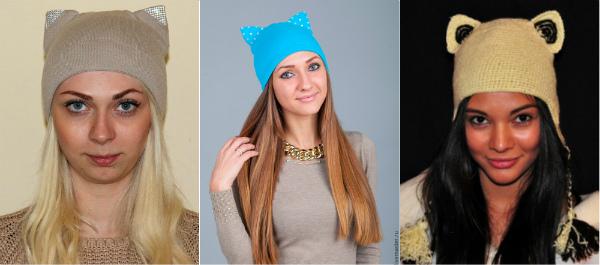 Модная шапка кошка с ушками фото