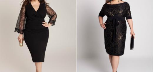 черное платье для полных женщин фото
