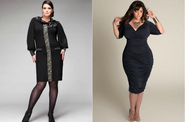 Черное платье для полных женщин с белым воротником