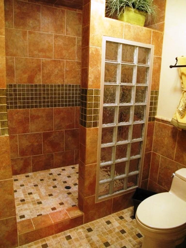 Дизайн ванной комнаты с душа из плитки