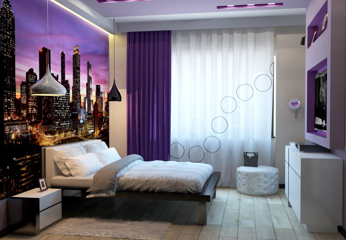 Дизайн комнаты для девушки в современном стиле с диваном