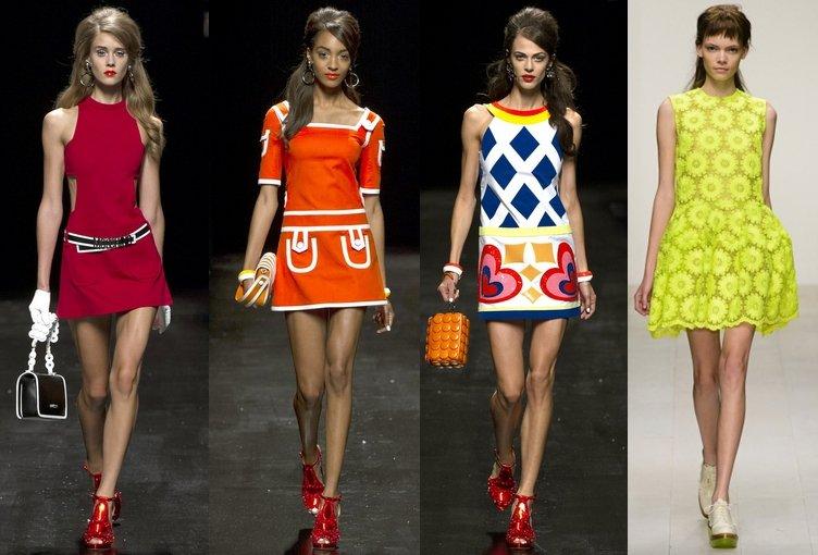 Платья в стиле 60-х годов в одежде женщины фото
