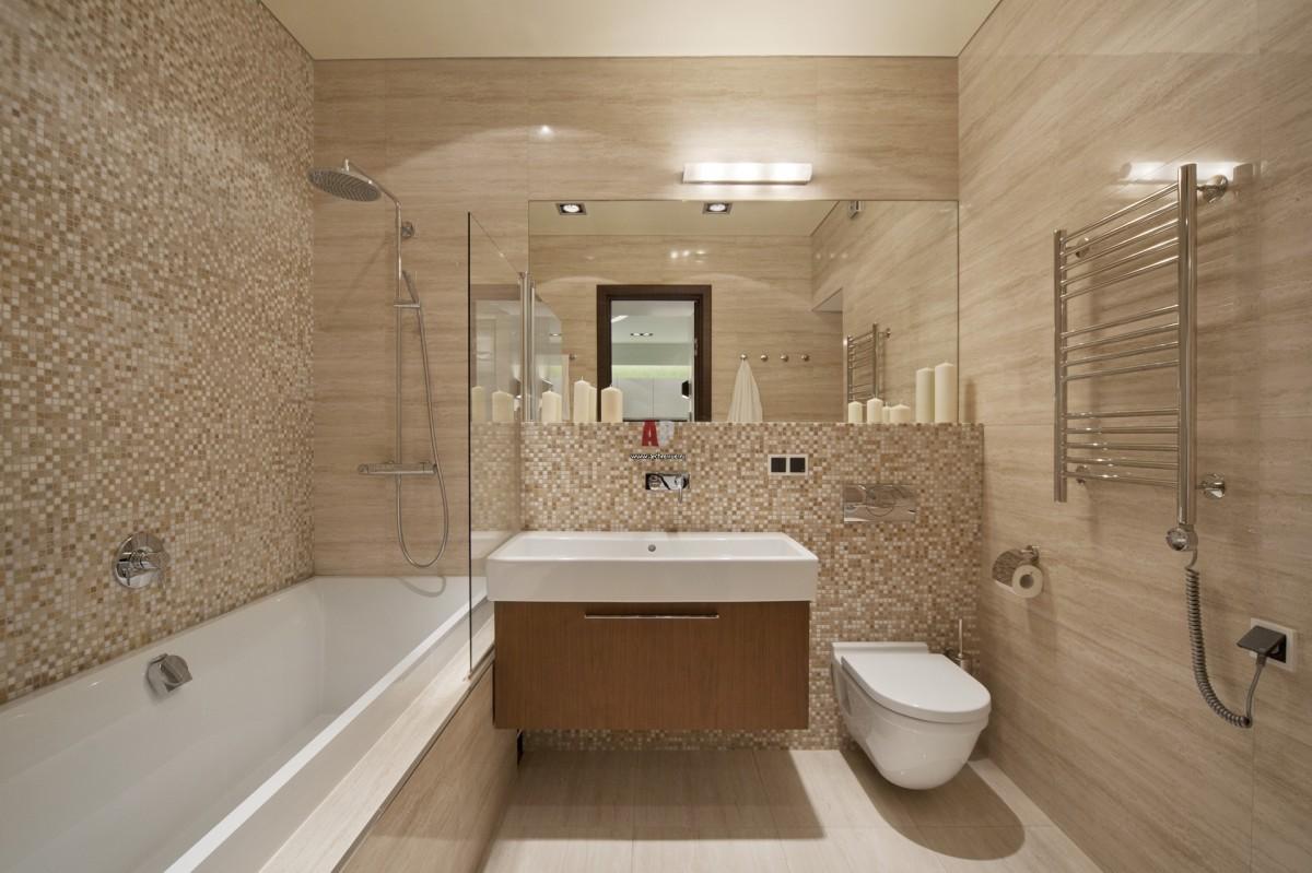 Дизайн ванной комнаты плиткой мозаика