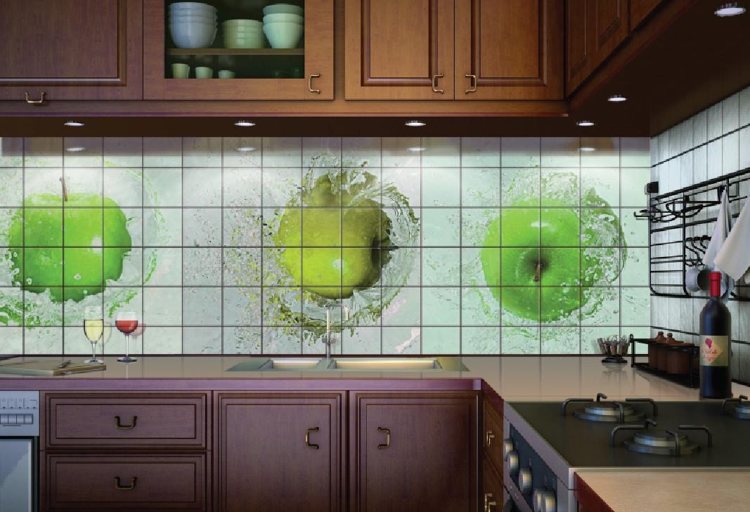 Рисунок на плитке на кухне