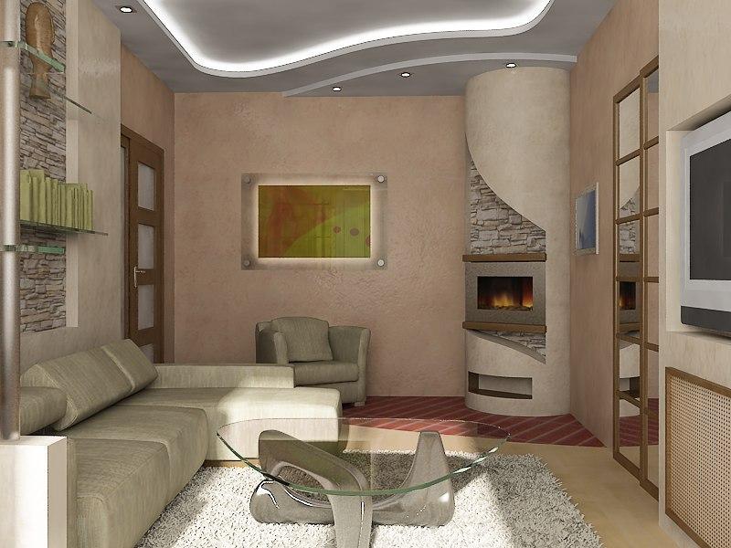 Дизайн гостиной 17 м с камином