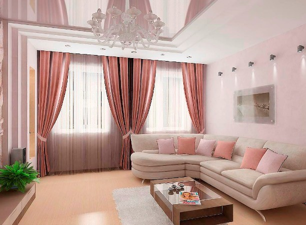 Дизайн гостиной с 2 окнами на одной стене