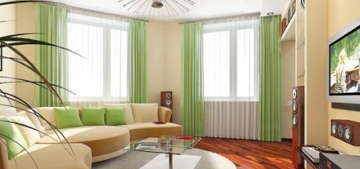 дизайн гостинной 19-20 м.кв с двумя окнами