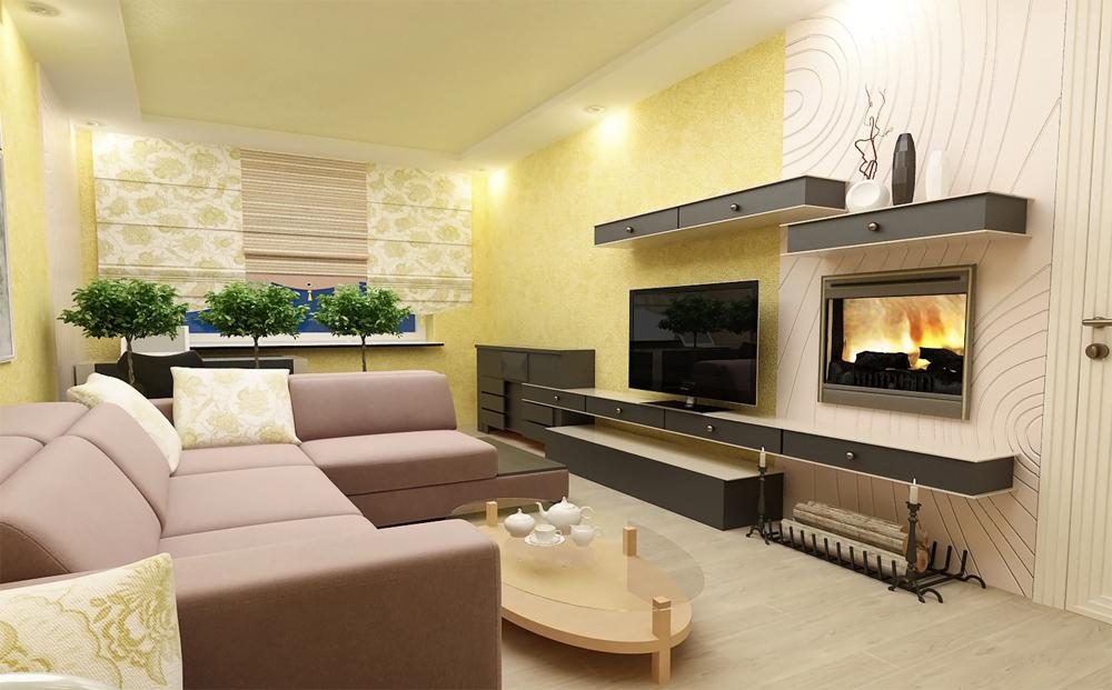 Камины в интерьере гостиной в городской квартире: фото ... искусственный камень в интерьере зала