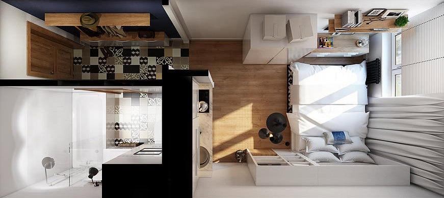 Дизайн однокомнатной квартиры 19 кв.м