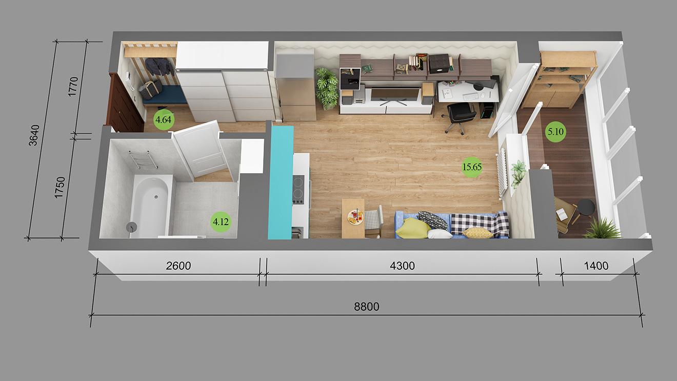 Дизайн спальни в 12 квадратов