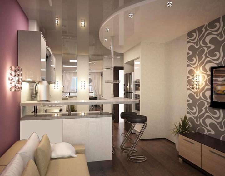 Кухня в студии 18 кв м дизайн
