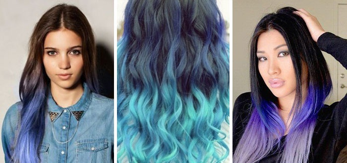 синие пряди на темных волосах